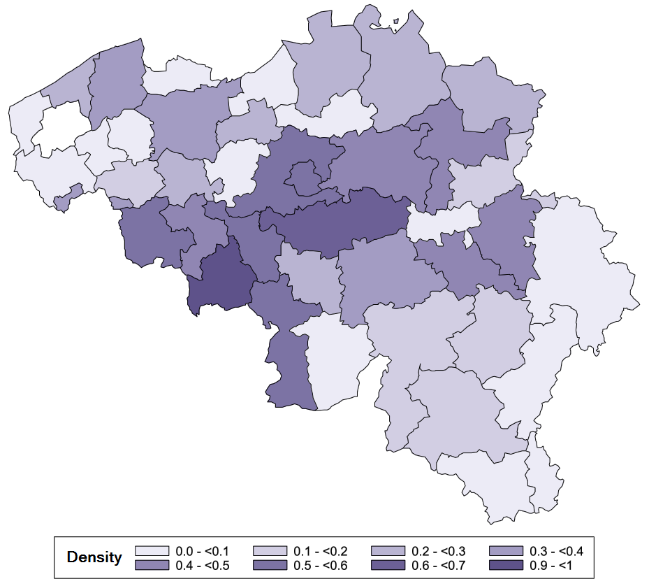 Conventioned gynaecologists density, in Full-time equivalent (FTE) per 10 000 insured population