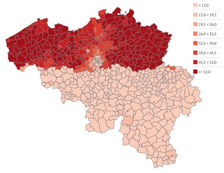 Coverage of organised breast cancer screening  in women 50-69 years old, by municipality (2016)